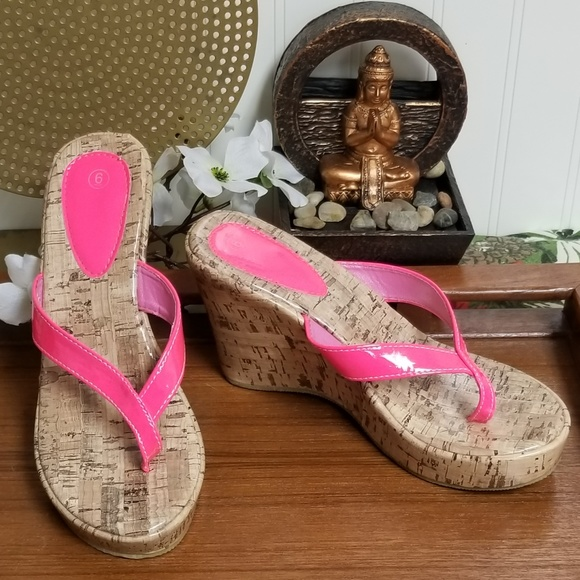20a3665f3 Pink Vegan Leather Cork Heel Wedges. M 5bf5b8a961974551b154bbe6